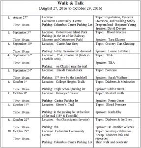 Walk and Talk Schedule